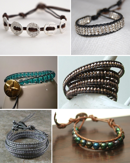 sparkly, leather, crystal and gemstone handmade friendship bracelets