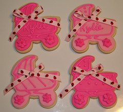 Baby carriages (Kiss My Buttercream) Tags: pink flower feet faces ladybug babyshower pacifier onesie