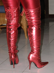 Do You Like My Boots (johnerly03) Tags: red fashion hair asian high long boots philippines thigh heel filipina length lycra catsuit zentai erly