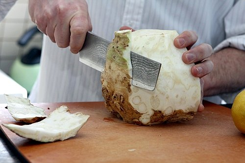slicing celery root