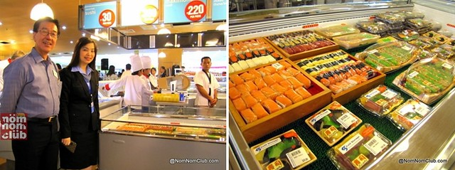 Maki and Sushi Section (Mariano Cua on left, owner of Cold Storage Seafood)
