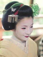 Cute! Maiko Satono (love_child_kyoto) Tags: woman beautiful beauty june japan japanese nikon kyoto arashiyama maiko geiko  kimono 1001nights potrait olympuspen soe  miyagawacho hanamachi geisya nikkor50mmf14         satono  microfourthirds  mindigtopponalwaysontop   maedakumiko