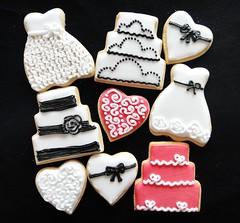 Black, white & pink wedding biscuits