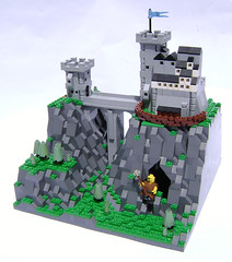 Fee Fie Foe Fum (DARKspawn) Tags: bridge castle giant landscape lego pass mini micro keep ravine