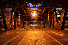 (Kevin Dickert) Tags: city bridge urban chicago architecture night downtown cityscape cta traffic dusk rail wideangle wells transit getty canon5d bluehour underneath beneath hdr highdynamicrange core merchandisemart wacker gettyimages nightfall chicagotransitauthority urbanity blueperiod canonef1740mmf4l 300northlasalle iamhydrogen kevindickert