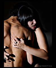 flesh (Jorge Stamatio) Tags: red portrait sexy girl flesh dark back pain blood gothic sb600 lips scratch lowkey janine d300 jorgestamatio