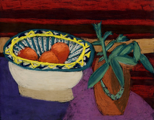 """David's Bowl with Plant - pastel on paper 22"""" x 30"""" $1100"""