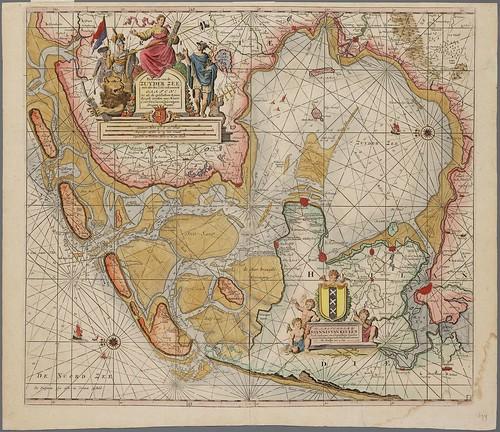 Kaart van de Zuiderzee door Johannes van Keulen uit 1735