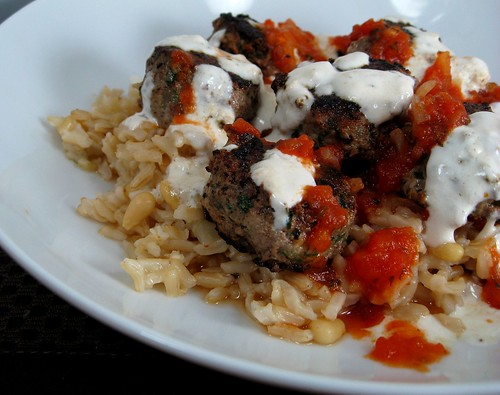Spiced Lamb Meatballs with Tomato and Yogurt over Basmati Rice