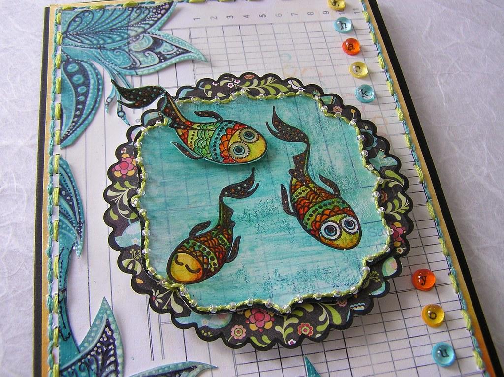 BasicGrey gesso fish detail mel stampz