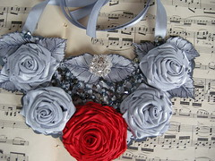 Fairy Lady -Statement Rolled Rose bib ribbon necklace. (Lirida7) Tags: pink red holiday grey brooch jewelry ring gift yellowrose weddings freeshipping ribbonnecklace fabricroses fairylady ststement rolledrose