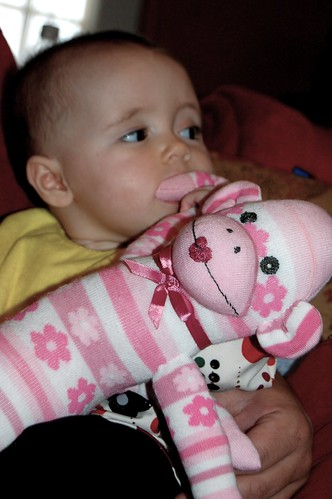 Ava and her sock monkey