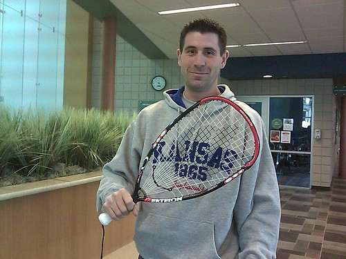 Ronnie and his new racket.