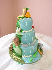 Deens Jungle Safari Adventure Cake (Little Sugar Bake Shop) Tags: elephant birds animals monkey waterfall tiger alligator frog birthdaycake zebra giraffe hippo 4thbirthday fourthbirthday junglesafari littlesugarbakeshop