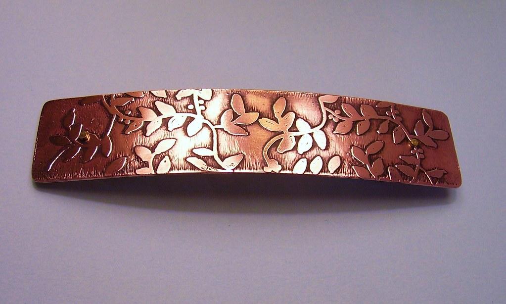 Extra Large Copper Etched Leafy Vine Barrette