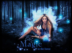 Blend  shakira - MAGIC in the forest (balt-arts) Tags: blue wallpaper plant luz azul night forest photoshop magic fairy bosque shakira blend