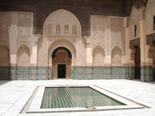 Photo of the inside structure of the beautiful historical building of Ben Youssef Madrassa deep inside the old city of Marrakech