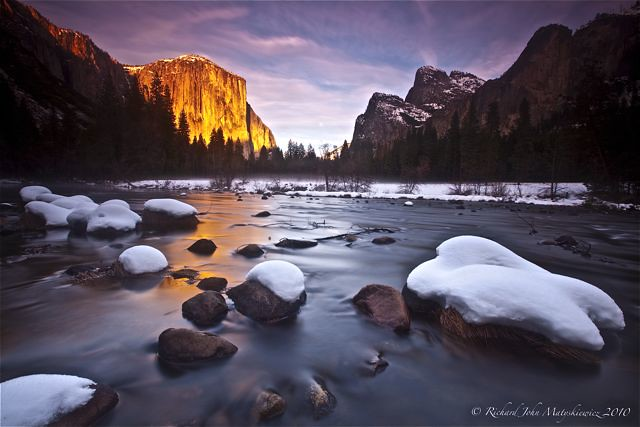 El Capitan on Fire - Valley View, Yosemite Park, California, USA