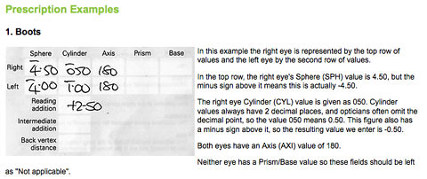 how to tell eye prescription
