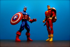 Captain America vs. Captain Marvel (42/365) (JD Hancock) Tags: blue comics fun toy actionfigure action cc figure superhero comicbooks duel 365 dccomics captainamerica day42 marvelcomics 1k captainmarvel theotherside nogeo inkitchen fawcettcomics jdhancock duel365