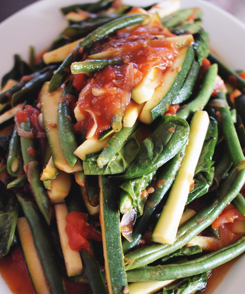 Summer greens with fresh tomato sauce