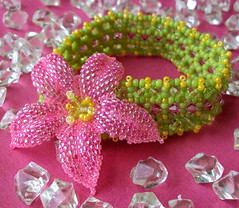 Tropical Holiday (fivefootfury) Tags: flower floral jewelry pinkflower bracelet tropical beaded beadwork pinkandgreen beadweaving tropicalholiday pinkyellowgreen fivefootfury