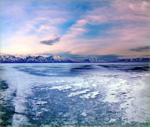 Utah lake icy from ss marina