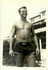 1940s Smiling Man Masculine Shirtless Swim Trunks Beach (Christian Montone) Tags: shirtless summer blackandwhite man men smiling swimming photo masculine 1940s leisure recreation swimsuit navel vintagephotos swimtrunks vintagephoto