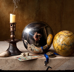 Still and not so still life (kevsyd) Tags: stilllife dice globe tarot fusee claypipe mirrorsphere kevinbest dutchstilllif