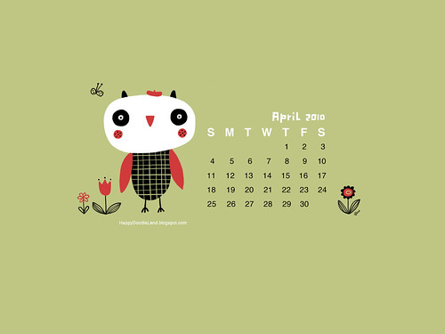 Free April Desktop Calendar Wallpaper 1600x1200