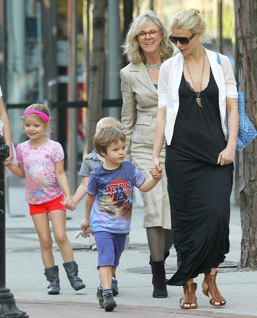 Gwyneth Paltrow and Apple, 6, and Moses, 4 and Mom Blythe Danner in NYC by Candy_Kirby