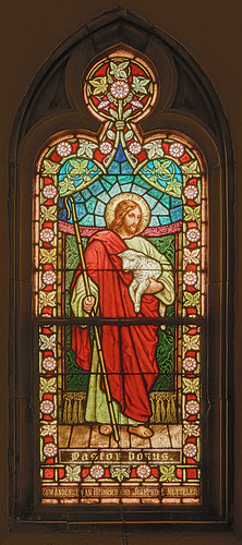 Saint Francis de Sales Oratory, in Saint Louis, Missouri, USA - stained glass window of the Good Shepherd