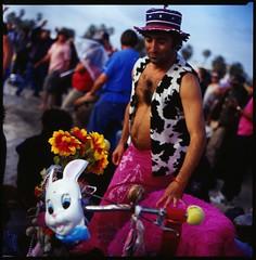 Alex in Wonderland (roostercoupon) Tags: ca pink venice hot color slr 120 6x6 film beach vintage mediumformat circle square la cow losangeles crazy kodak drum character slide transparency push format weirdo vest pushed 88 kiev processed e100vs 1stop mooman bunnybike hasselbladski