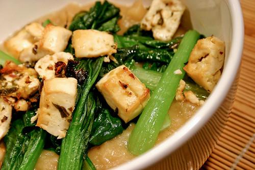 white sweet potato soup with tofu croutons