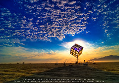 Groovik's Cube, Sunrise, Burning Man 2009 (Michael Holden) Tags: sculpture art festival sunrise fire desert nevada evolution playa burningman nv blackrockcity burning installation brc cube dust thecube hdr highdynamicrange counterculture blm gerlach subculture blackrockdesert photomatix fav110 michaelholden fav120 fav130 michaelholdencom burningman2009 hdrcreativeshots blackrockcity2009 brc2009 bman09 bm09 groovik groovikscube brc09 bman2009 burningman:art=471