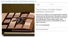 Real Weddings Feature screenshot of DIY guestbook scrapbook