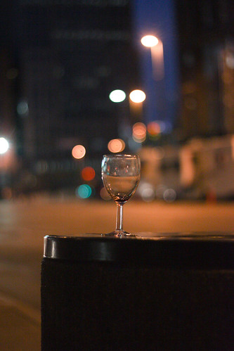 A lone glass in the city-not staged