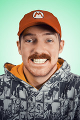 It'sa me! (Mr. Moog) Tags: portrait face ginger hoodie teeth mario moustache cap grin marvel tasche
