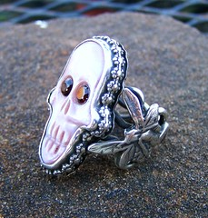 Graveyard Fairy ring  set in silver (leespicedragon) Tags: original art graveyard silver dayofthedead skull handmade turquoise oneofakind ooak magic jewelry carving ring nativeamerican spiritual magical opal forged lapidary crafted eldadelosmuertos marvinleebillings