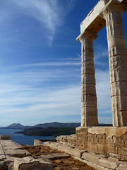 Temple of Poseidon (fede_gen88) Tags: sea two panorama temple ruins europe view columns aegean greece poseidon sounion portico ancientgreece attica greektemple sounio doricorder aegeansea capesounion  hexastyle classicalgreece   godofsea neptnus 440bc vcenturybc   a
