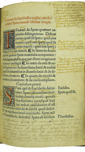 Incipit, woodcut initials, marginal and interlinear annotations in Johannes de Sacro Bosco: Sphaera mundi