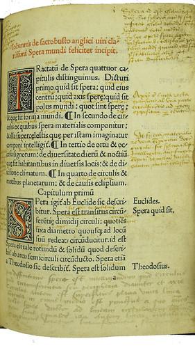 Incipit, woodcut initials, marginal and interlinear annotations in Johannes de Sacro Bosco: Sphaera mundi