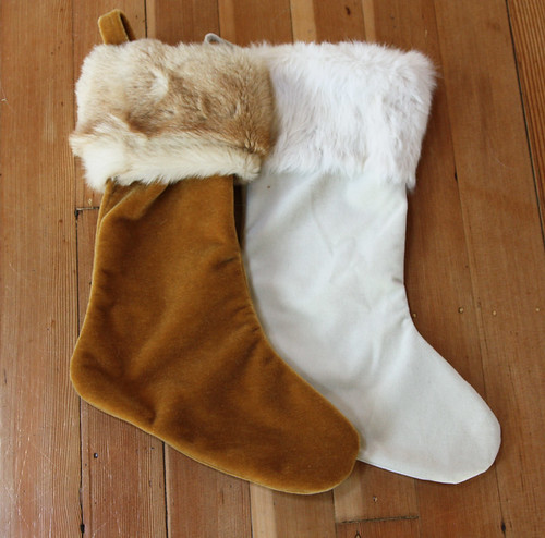 Christmas stockings from vintage textiles and fur coats