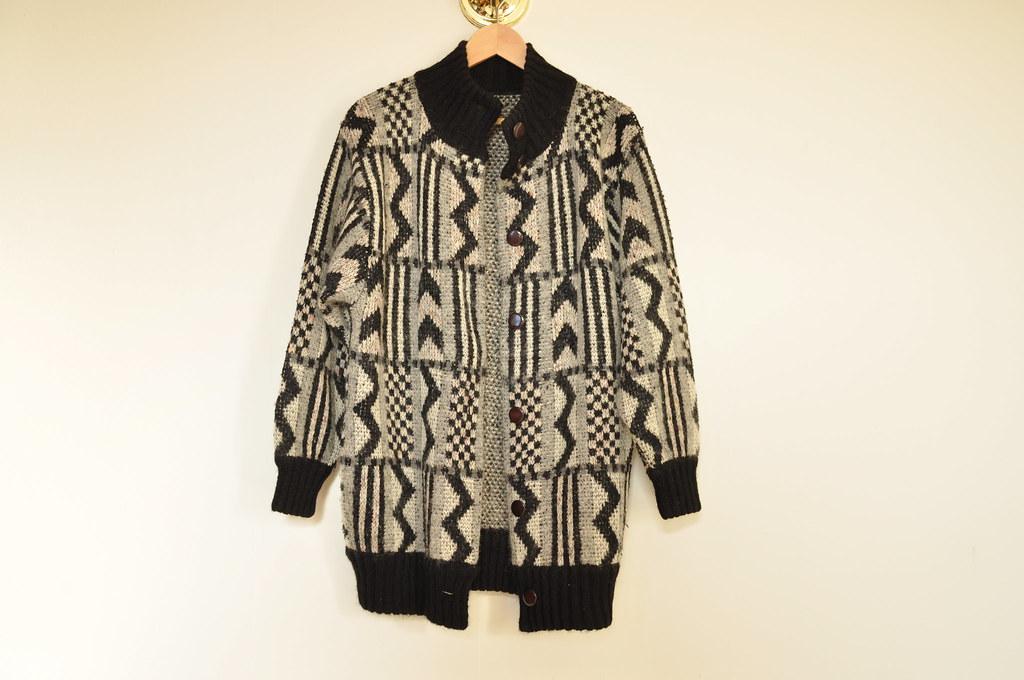 vintage oversized zigzag cardigan