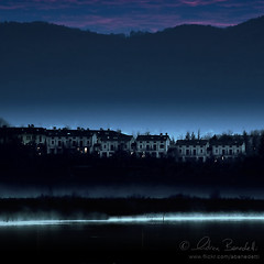 silent night () Tags: blue houses winter italy mist lake como cold andy water landscape lago dawn cozy italia alba blu andrea andrew case pre prima nebbia acqua inverno freddo paesaggio benedetti