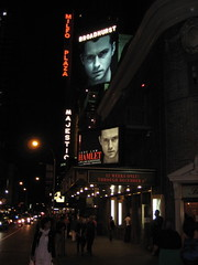 Milfo Plaza Hamlet 0222 (Brechtbug) Tags: broadway marquee for jude law hamlet with neon sign milfo plaza hanging background new york city photographed 09182009 2009 nyc