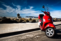 Beach Vespa (Nick Chill Photography) Tags: ocean california road red sky beach bike clouds print landscape photography italian nikon vespa image sandiego fineart stock perspective scenic style scooter coronado sporty orton myride dx pointloma efficient d90 fueleconomy gts250 nickchill