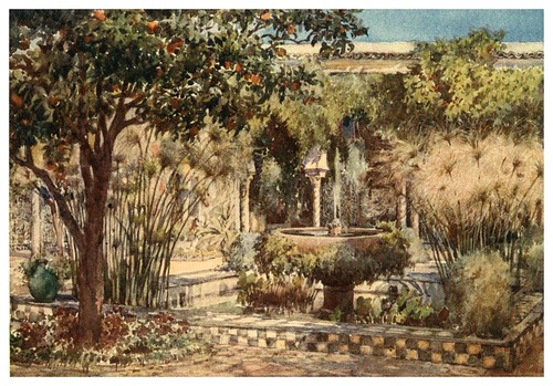 005-El patio de un jardin de una antigua villa morisca en Argel-Algeria and Tunis (1906)-Frances E. Nesbitt