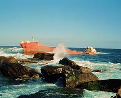 The wreck of the Colombo Queen (deepstoat) Tags: 120 broken mediumformat taiwan roll wreck tanker ashore mamiya7ii kodakportra deepstoat