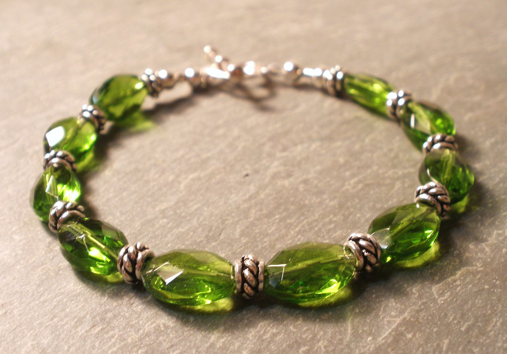 Peridot Green Faceted Glass and Sterling Silver Bracelet